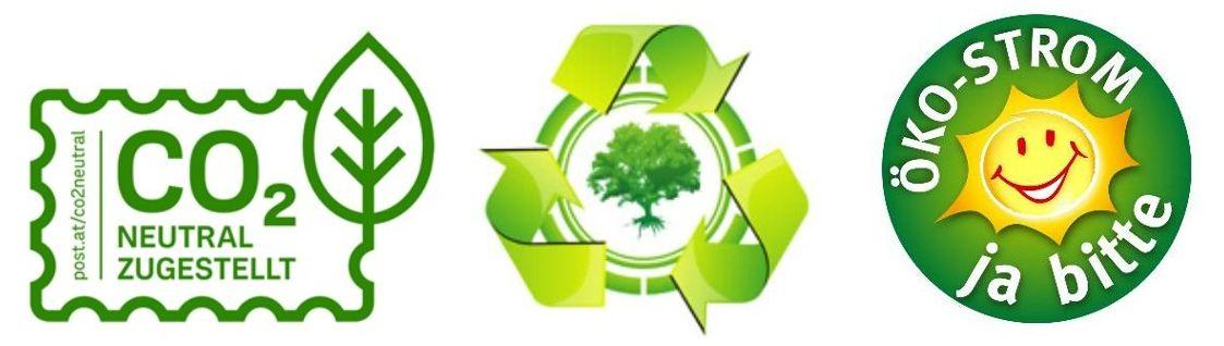 Logos Co2 neutral zugestellt, ökostrom, recycling