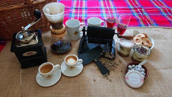 Picknickdecke mit Kaffee reich gedeckt