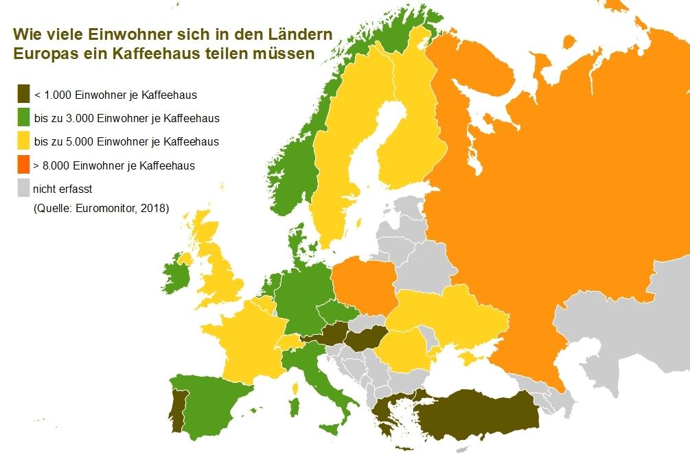 Europakarte mit Anzahl Kaffeehäuser je Einwohner